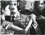 2011, Charcoal drawings 50x65cm - taken from « Invitation au Tango », photos by Pedro Lombardi, Éditions du Collectionneur